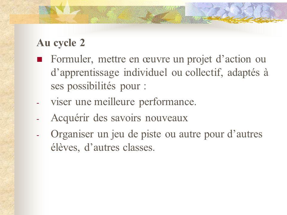 Au cycle 2 Formuler, mettre en œuvre un projet daction ou dapprentissage individuel ou collectif, adaptés à ses possibilités pour : - viser une meille