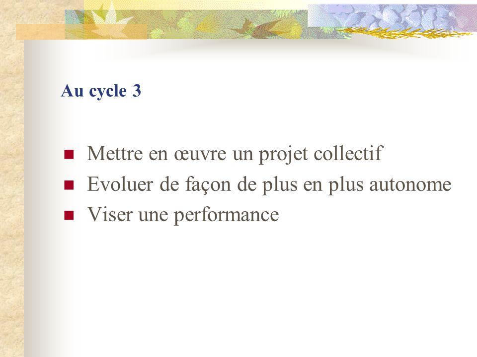 Au cycle 3 Mettre en œuvre un projet collectif Evoluer de façon de plus en plus autonome Viser une performance