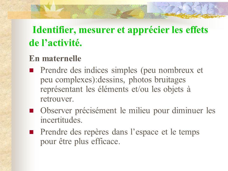 Identifier, mesurer et apprécier les effets de lactivité. En maternelle Prendre des indices simples (peu nombreux et peu complexes):dessins, photos br