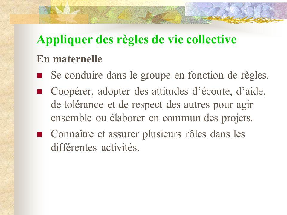 Appliquer des règles de vie collective En maternelle Se conduire dans le groupe en fonction de règles. Coopérer, adopter des attitudes découte, daide,
