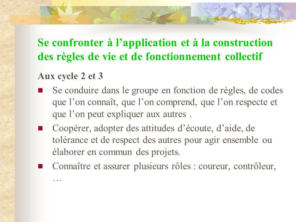 Se confronter à lapplication et à la construction des règles de vie et de fonctionnement collectif Aux cycle 2 et 3 Se conduire dans le groupe en fonc
