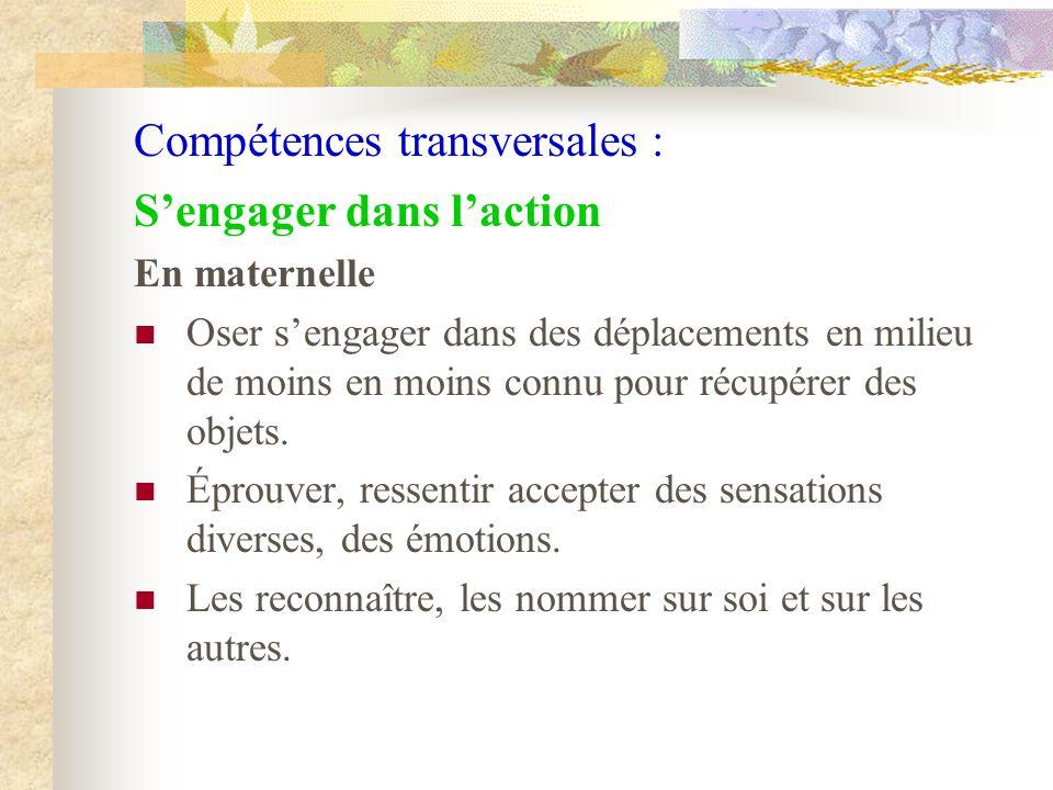 Compétences transversales : Sengager dans laction En maternelle Oser sengager dans des déplacements en milieu de moins en moins connu pour récupérer d