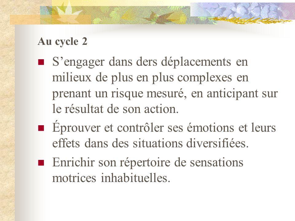 Au cycle 2 Sengager dans ders déplacements en milieux de plus en plus complexes en prenant un risque mesuré, en anticipant sur le résultat de son acti