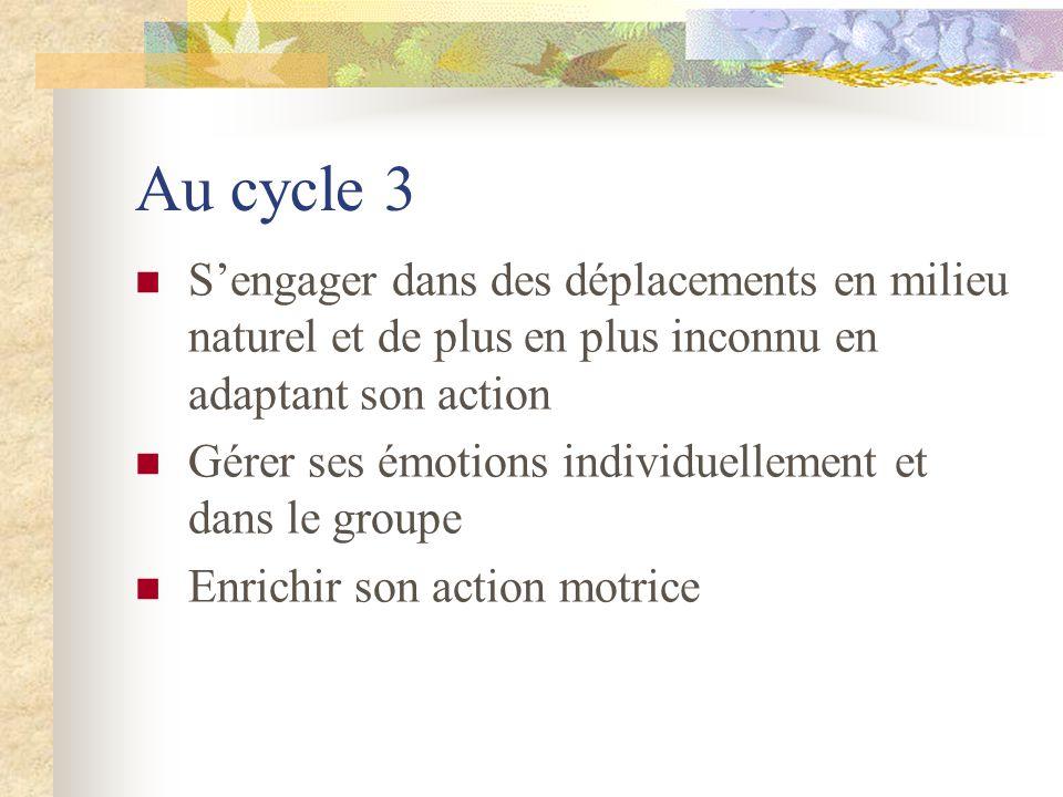 Au cycle 3 Sengager dans des déplacements en milieu naturel et de plus en plus inconnu en adaptant son action Gérer ses émotions individuellement et d