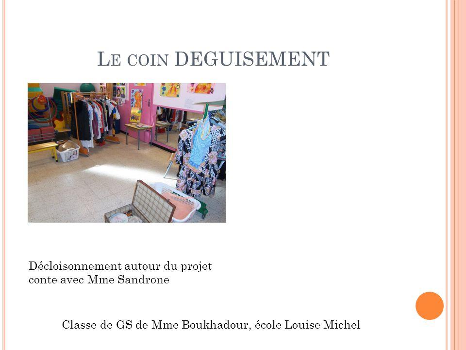 L E COIN DEGUISEMENT Décloisonnement autour du projet conte avec Mme Sandrone Classe de GS de Mme Boukhadour, école Louise Michel