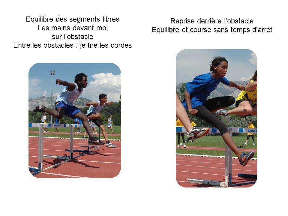 Equilibre des segments libres Les mains devant moi sur l obstacle Entre les obstacles : je tire les cordes Reprise derrière l obstacle Equilibre et course sans temps d arrêt
