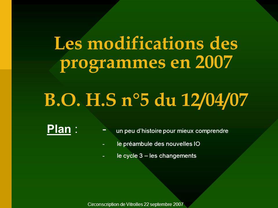 Les modifications des programmes en 2007 B.O.