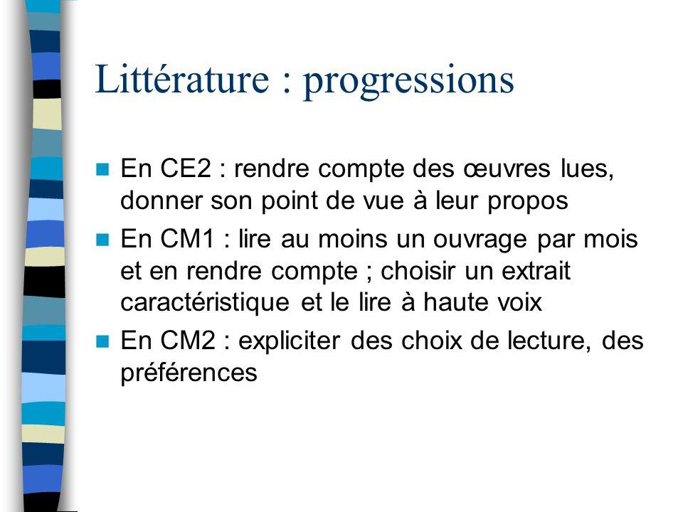 Littérature : progressions En CE2 : rendre compte des œuvres lues, donner son point de vue à leur propos En CM1 : lire au moins un ouvrage par mois et en rendre compte ; choisir un extrait caractéristique et le lire à haute voix En CM2 : expliciter des choix de lecture, des préférences