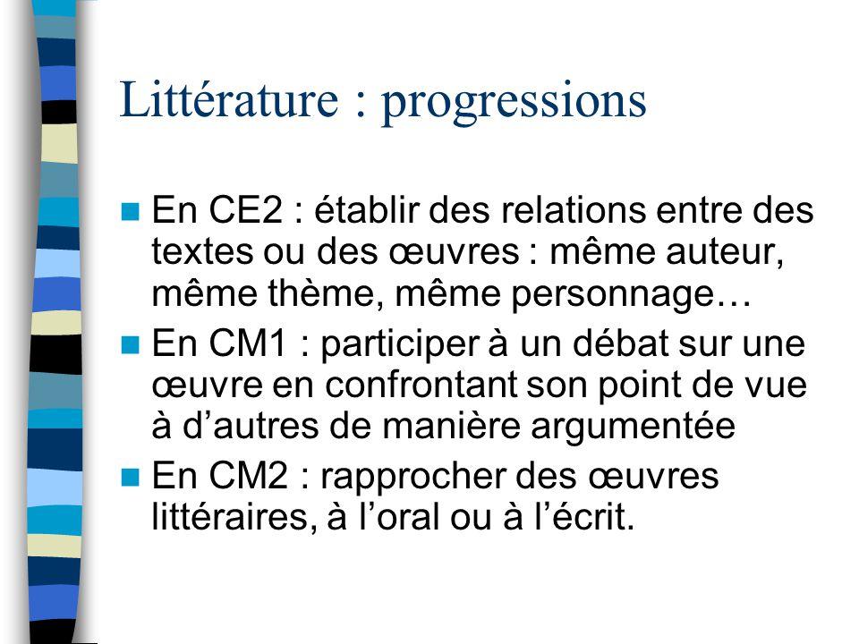 Littérature : progressions En CE2 : établir des relations entre des textes ou des œuvres : même auteur, même thème, même personnage… En CM1 : participer à un débat sur une œuvre en confrontant son point de vue à dautres de manière argumentée En CM2 : rapprocher des œuvres littéraires, à loral ou à lécrit.