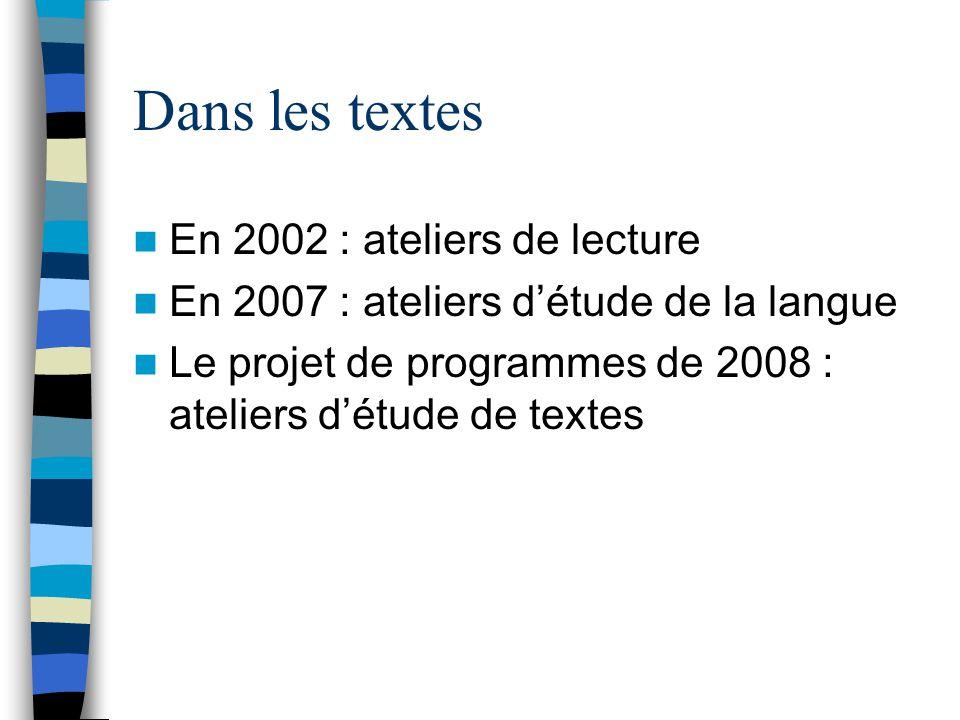 Dans les textes En 2002 : ateliers de lecture En 2007 : ateliers détude de la langue Le projet de programmes de 2008 : ateliers détude de textes