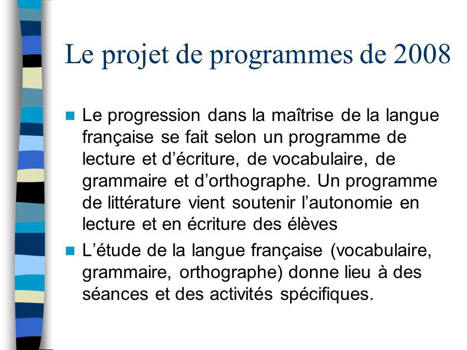 Le projet de programmes de 2008 Le progression dans la maîtrise de la langue française se fait selon un programme de lecture et décriture, de vocabulaire, de grammaire et dorthographe.