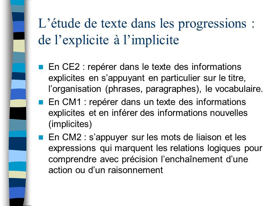 Létude de texte : les progressions En CE2 : reconnaître les marques de ponctuation en particulier dans un récit sappuyer sur les deux points et guillemets pour repérer les paroles dun personnages En CM1 : dans un récit ou une description, sappuyer sur les mots de liaison qui marquent les relations spatiales et sur les compléments de lieu pour comprendre avec précision la configuration du lieu de laction ou du lieu décrit En CM2 : apprécier les effets de choix formels (emplois de certains mots, utilisation dun niveau de langue carctérisé…)
