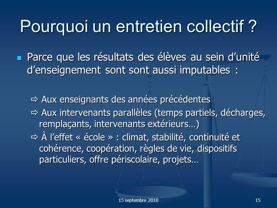 15 septembre 201016 Donc, compte tenu du caractère collectif de la responsabilité des enseignants, lévaluation individuelle doit sinscrire dans le cadre dune évaluation décole ( cf.