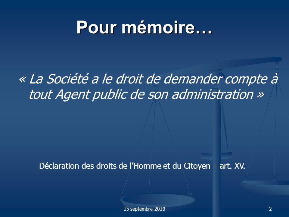 15 septembre 20103 Pour mémoire… « Tout fonctionnaire, quel que soit son rang dans la hiérarchie, est responsable de lexécution des tâches qui lui sont confiées.