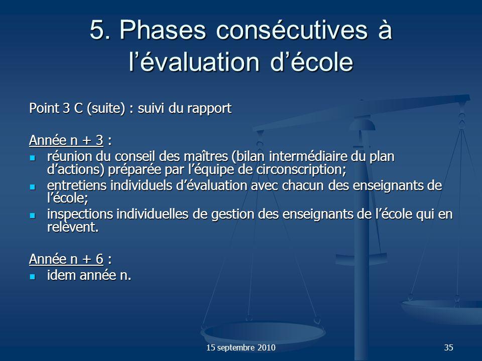 15 septembre 201035 5. Phases consécutives à lévaluation décole Point 3 C (suite) : suivi du rapport Année n + 3 : réunion du conseil des maîtres (bil