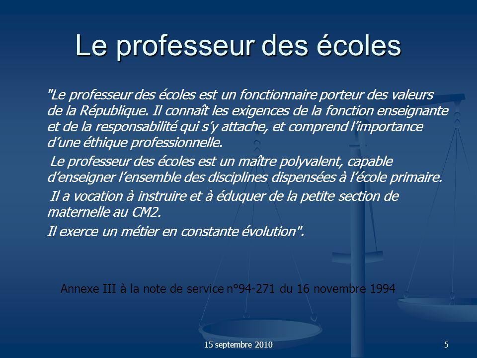 15 septembre 20106 Les dix compétences à développer dont il est fait obligation au P.E.
