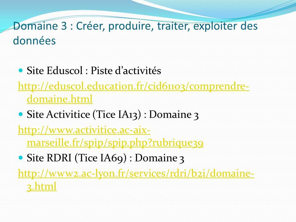 Domaine 3 : Créer, produire, traiter, exploiter des données Site Eduscol : Piste dactivités http://eduscol.education.fr/cid61103/comprendre- domaine.h