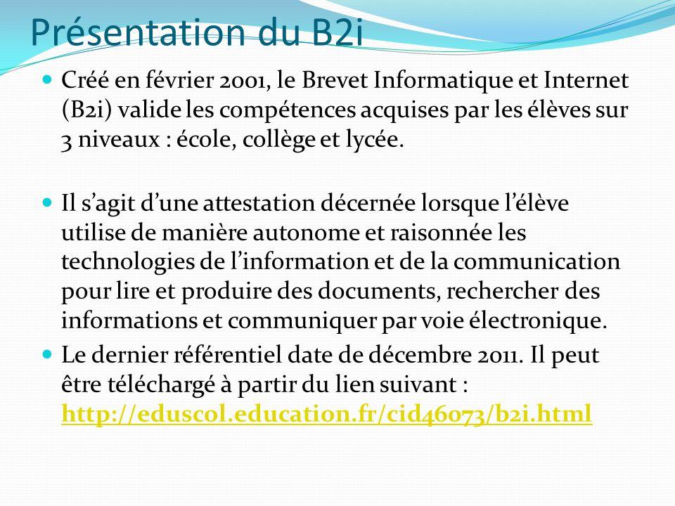 Présentation du B2i Créé en février 2001, le Brevet Informatique et Internet (B2i) valide les compétences acquises par les élèves sur 3 niveaux : écol