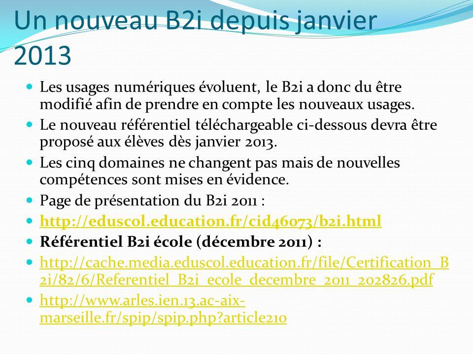Un nouveau B2i depuis janvier 2013 Les usages numériques évoluent, le B2i a donc du être modifié afin de prendre en compte les nouveaux usages. Le nou
