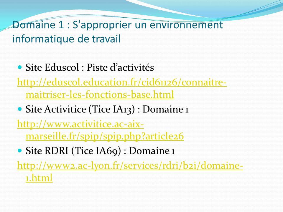 Domaine 2 : Adopter une attitude responsable Site Eduscol : Piste dactivités http://eduscol.education.fr/cid61101/comprendre- domaine.html Site Activitice (Tice IA13) : Domaine 2 http://www.activitice.ac-aix- marseille.fr/spip/spip.php?rubrique38 Site RDRI (Tice IA69) : Domaine 2 http://www2.ac-lyon.fr/services/rdri/b2i/domaine- 2.html