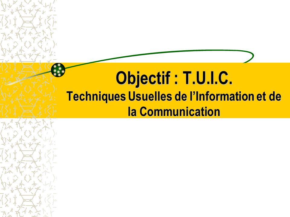 Objectif : T.U.I.C. Techniques Usuelles de lInformation et de la Communication