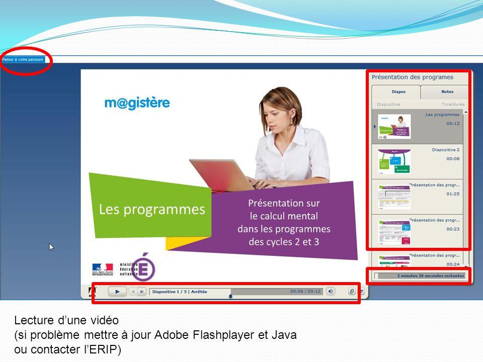 Lecture dune vidéo (si problème mettre à jour Adobe Flashplayer et Java ou contacter lERIP)