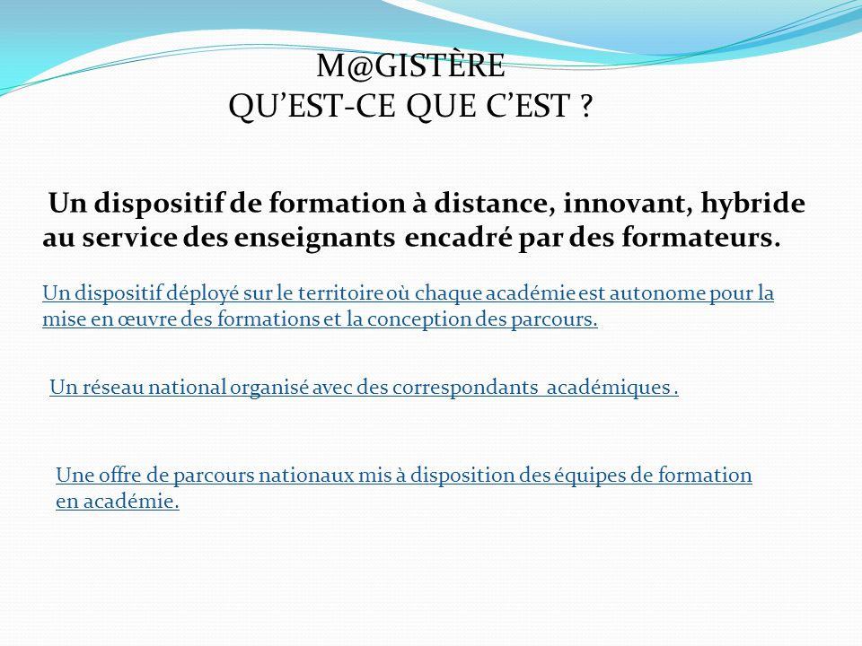 M@GISTÈRE COMMENT .QUEL PILOTAGE .
