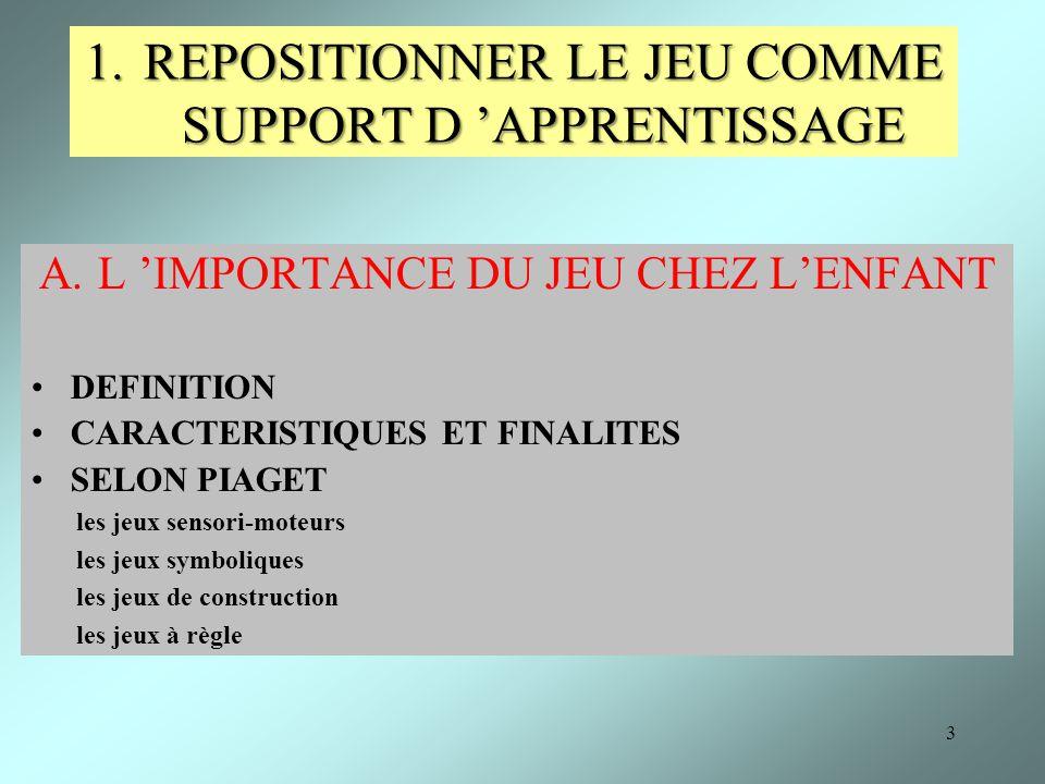3 1.REPOSITIONNER LE JEU COMME SUPPORT D APPRENTISSAGE A.L IMPORTANCE DU JEU CHEZ LENFANT DEFINITION CARACTERISTIQUES ET FINALITES SELON PIAGET les je