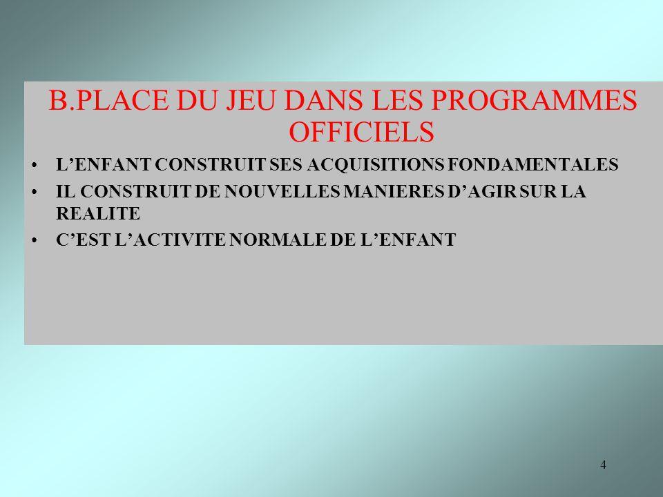 4 B.PLACE DU JEU DANS LES PROGRAMMES OFFICIELS LENFANT CONSTRUIT SES ACQUISITIONS FONDAMENTALES IL CONSTRUIT DE NOUVELLES MANIERES DAGIR SUR LA REALIT
