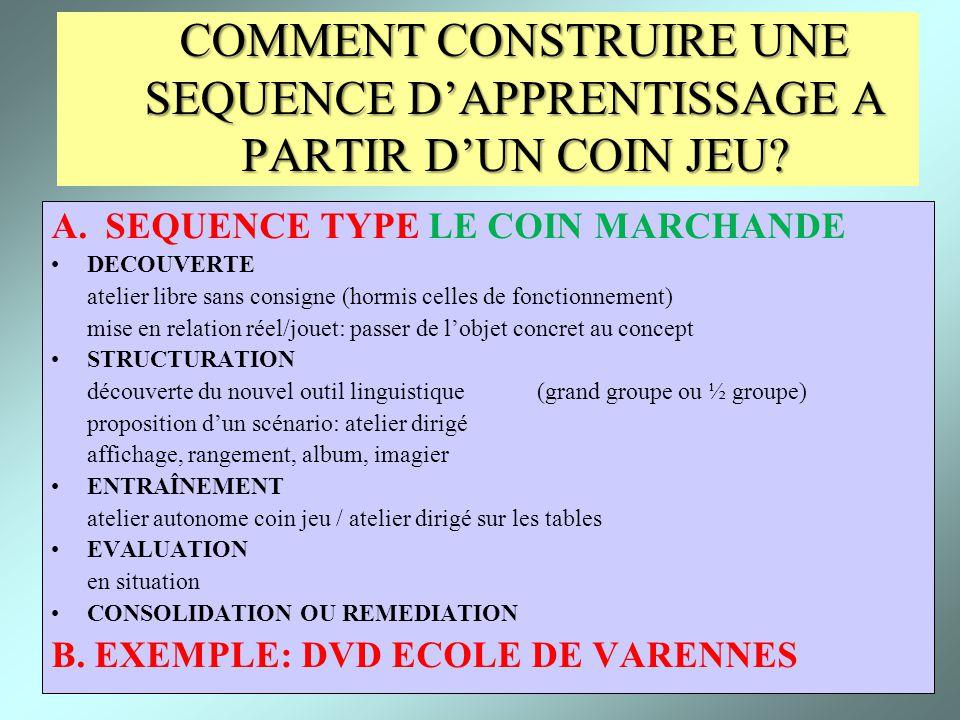 7 COMMENT CONSTRUIRE UNE SEQUENCE DAPPRENTISSAGE A PARTIR DUN COIN JEU? A.SEQUENCE TYPE LE COIN MARCHANDE DECOUVERTE atelier libre sans consigne (horm