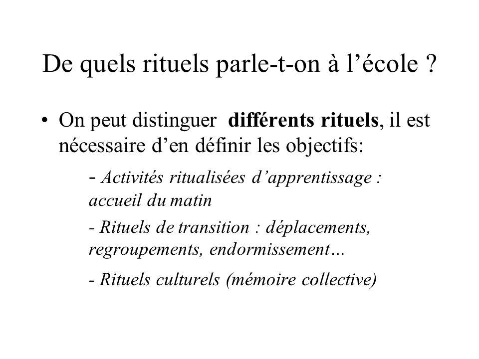 De quels rituels parle-t-on à lécole ? On peut distinguer différents rituels, il est nécessaire den définir les objectifs: - Activités ritualisées dap