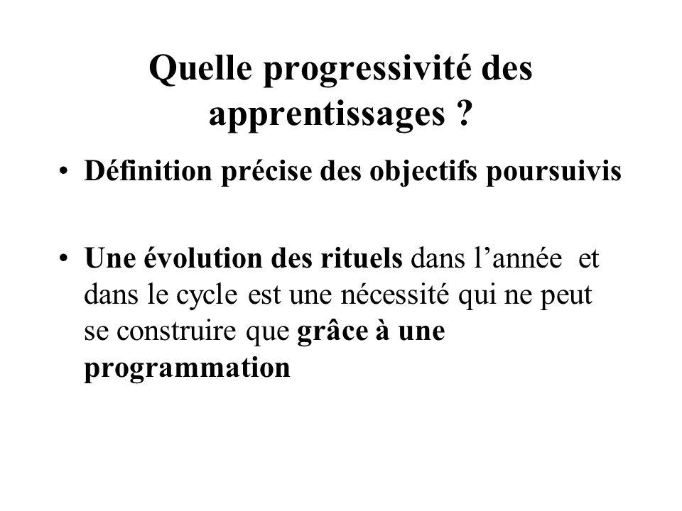 Quelle progressivité des apprentissages ? Définition précise des objectifs poursuivis Une évolution des rituels dans lannée et dans le cycle est une n