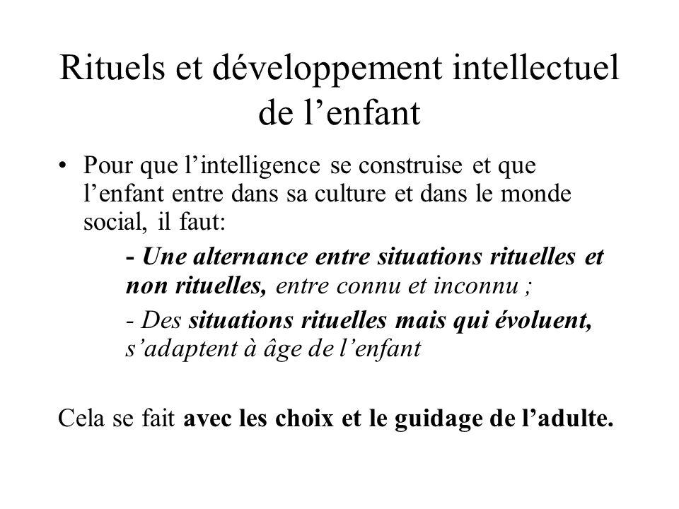 Rituels et développement intellectuel de lenfant Pour que lintelligence se construise et que lenfant entre dans sa culture et dans le monde social, il