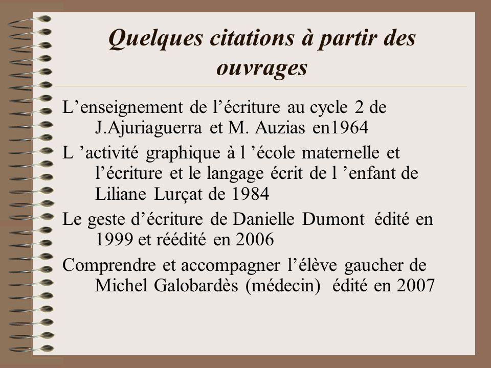 Quelques citations à partir des ouvrages Lenseignement de lécriture au cycle 2 de J.Ajuriaguerra et M.