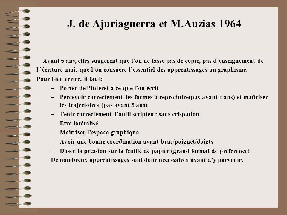 J. de Ajuriaguerra et M.Auzias 1964 Avant 5 ans, elles suggèrent que lon ne fasse pas de copie, pas denseignement de l écriture mais que lon consacre