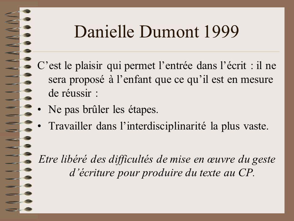 Danielle Dumont 1999 Cest le plaisir qui permet lentrée dans lécrit : il ne sera proposé à lenfant que ce quil est en mesure de réussir : Ne pas brûler les étapes.