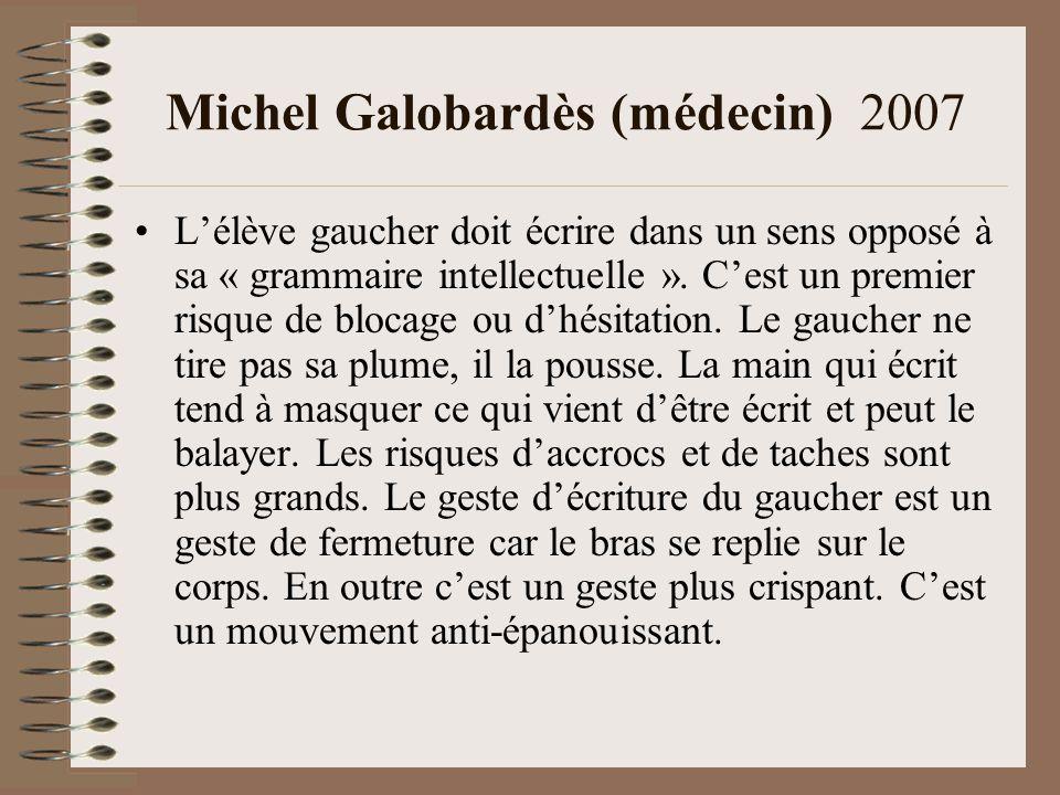 Michel Galobardès (médecin) 2007 Lélève gaucher doit écrire dans un sens opposé à sa « grammaire intellectuelle ».