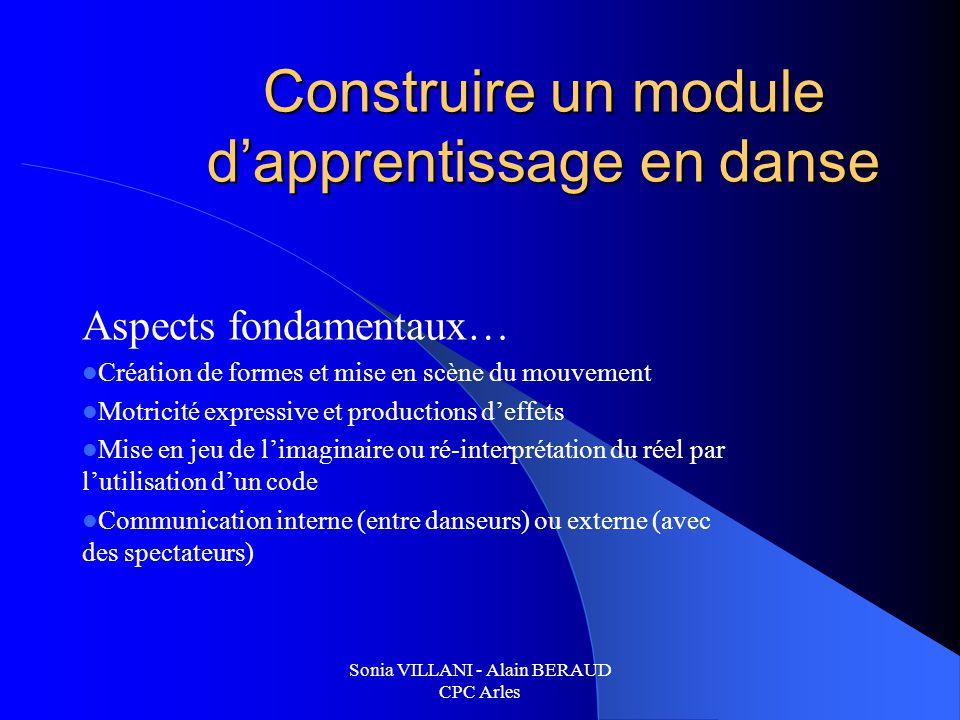 Sonia VILLANI - Alain BERAUD CPC Arles Construire un module dapprentissage en danse Aspects fondamentaux… Création de formes et mise en scène du mouve