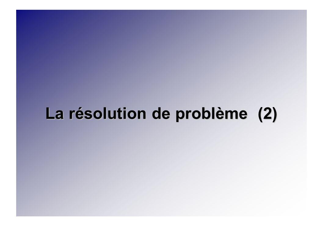 La résolution de problème (2)