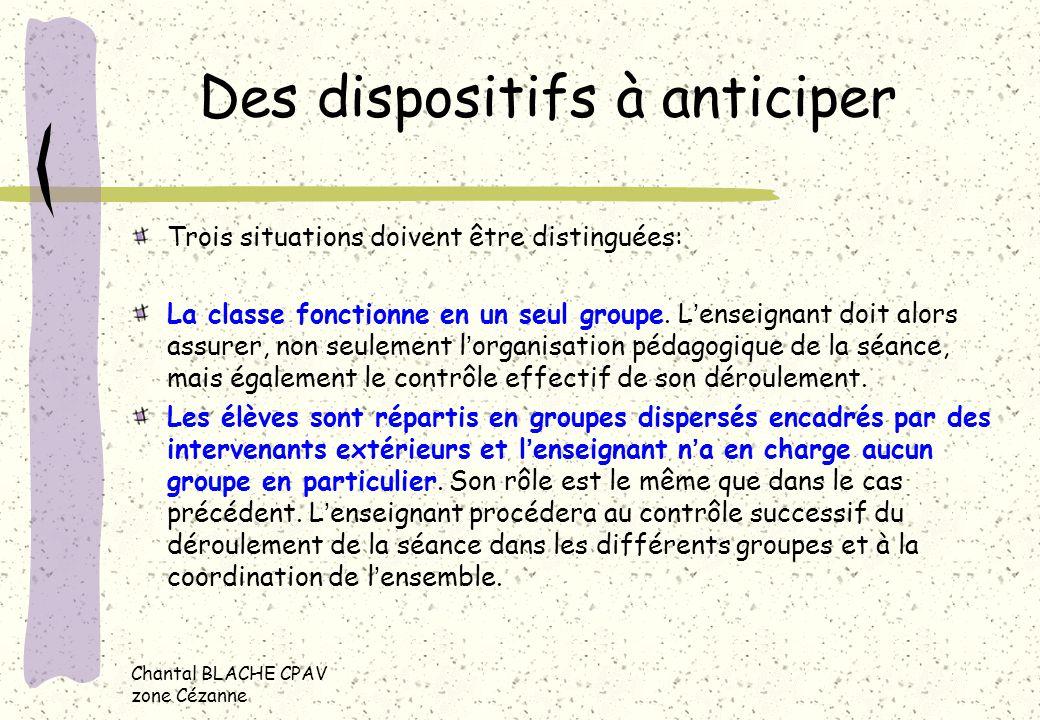 Chantal BLACHE CPAV zone Cézanne Des dispositifs à anticiper Trois situations doivent être distinguées: La classe fonctionne en un seul groupe. Lensei