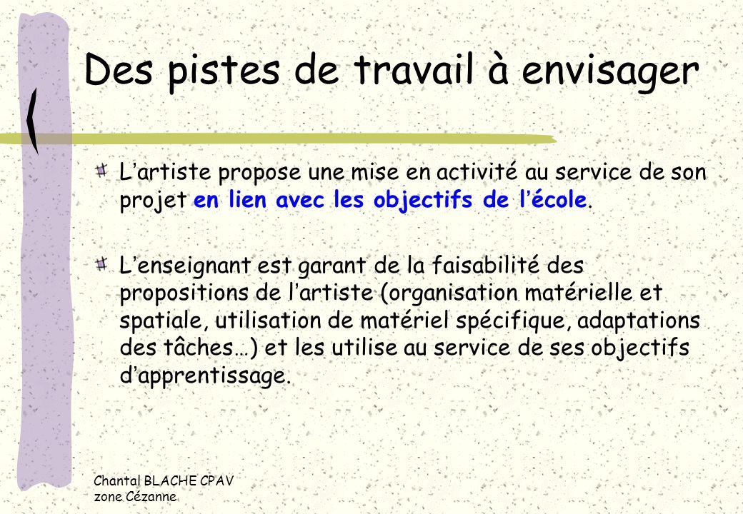 Des pistes de travail à envisager Lartiste propose une mise en activité au service de son projet en lien avec les objectifs de lécole. Lenseignant est
