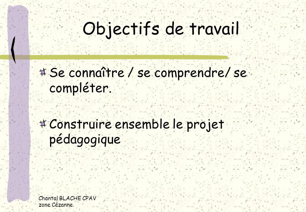 Chantal BLACHE CPAV zone Cézanne Objectifs de travail Se connaître / se comprendre/ se compléter. Construire ensemble le projet pédagogique