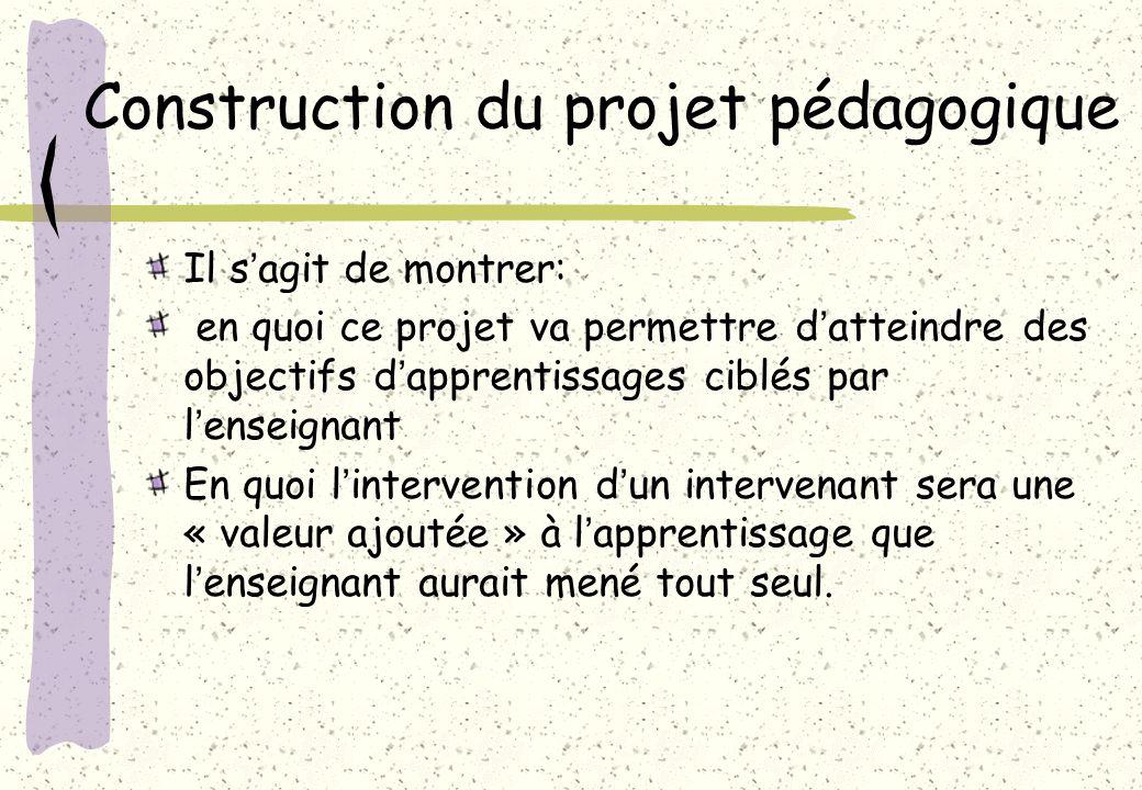 Construction du projet pédagogique Il sagit de montrer: en quoi ce projet va permettre datteindre des objectifs dapprentissages ciblés par lenseignant