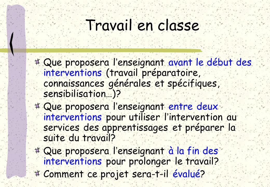 Travail en classe Que proposera lenseignant avant le début des interventions (travail préparatoire, connaissances générales et spécifiques, sensibilis