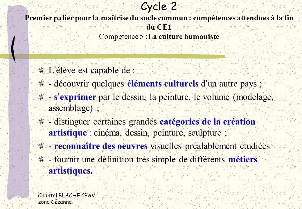 Chantal BLACHE CPAV zone Cézanne Cycle 2 Premier palier pour la maîtrise du socle commun : compétences attendues à la fin du CE1 Compétence 5 :La cult