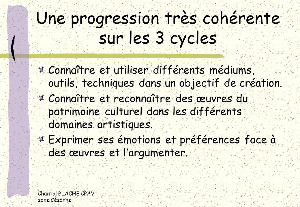 Chantal BLACHE CPAV zone Cézanne Une progression très cohérente sur les 3 cycles Connaître et utiliser différents médiums, outils, techniques dans un