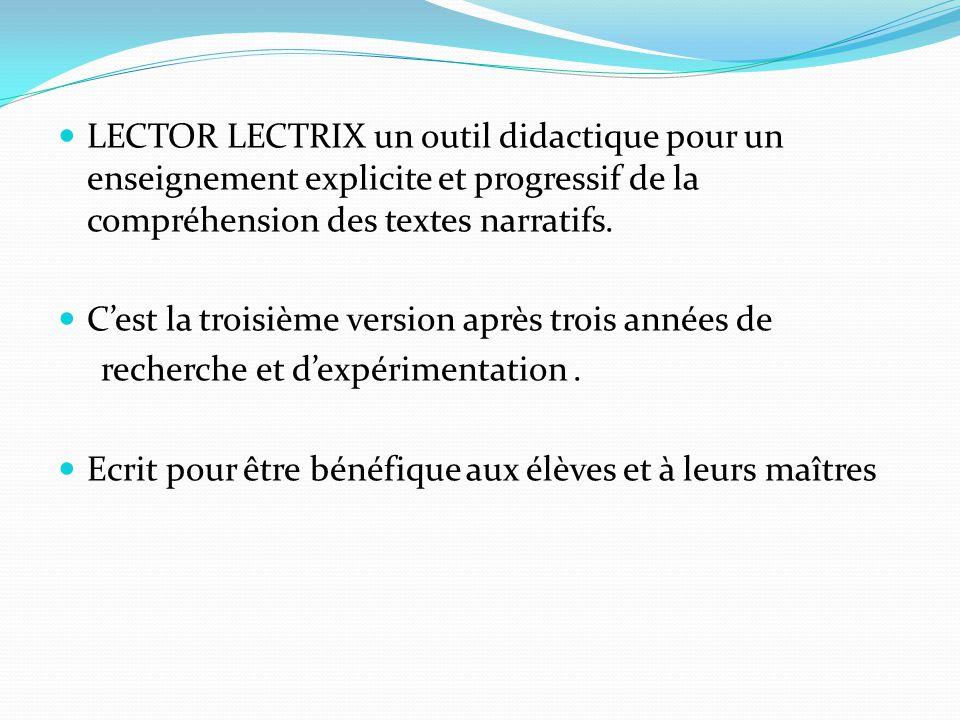 LECTOR LECTRIX un outil didactique pour un enseignement explicite et progressif de la compréhension des textes narratifs. Cest la troisième version ap