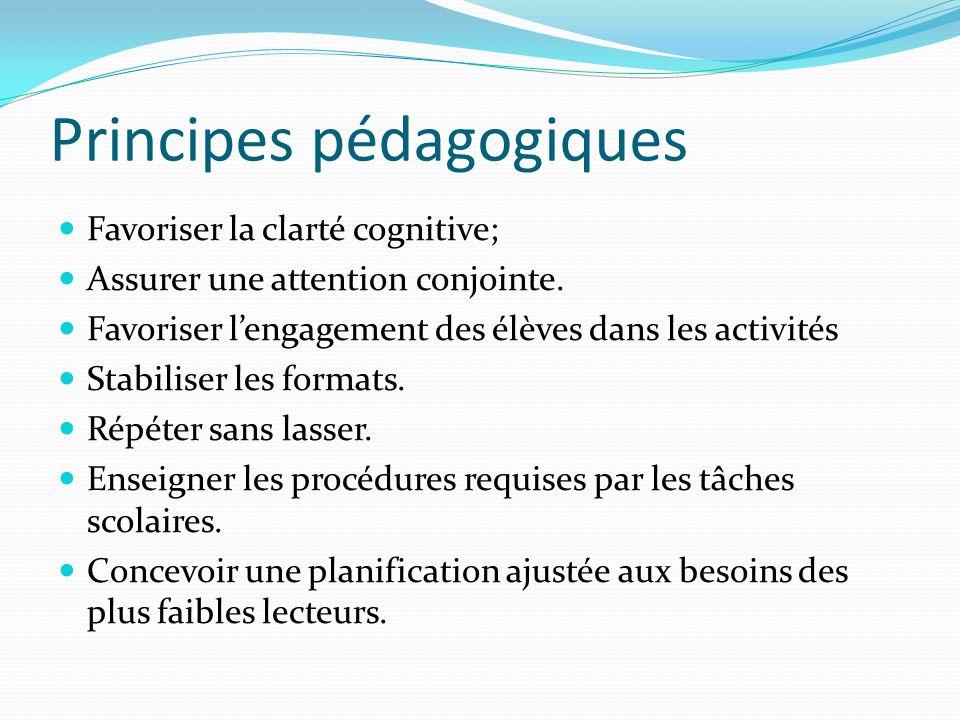 Principes pédagogiques Favoriser la clarté cognitive; Assurer une attention conjointe. Favoriser lengagement des élèves dans les activités Stabiliser