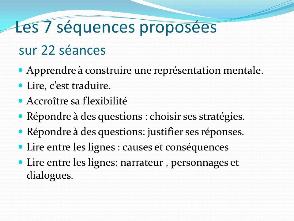 Les 7 séquences proposées sur 22 séances Apprendre à construire une représentation mentale. Lire, cest traduire. Accroître sa flexibilité Répondre à d