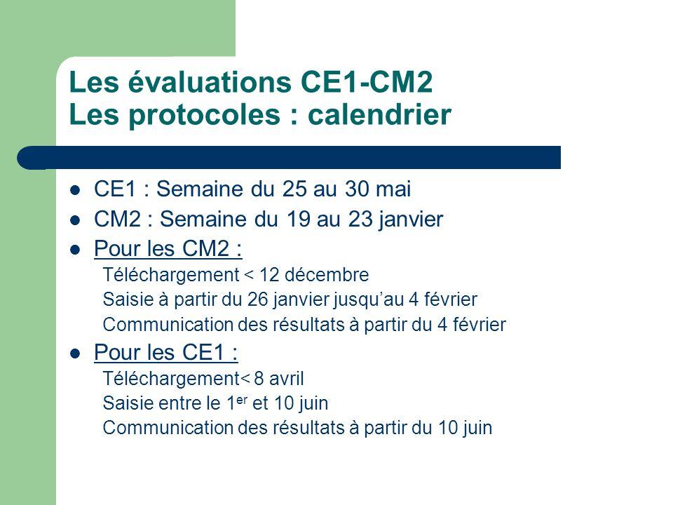 Les évaluations CE1-CM2 Les protocoles : calendrier CE1 : Semaine du 25 au 30 mai CM2 : Semaine du 19 au 23 janvier Pour les CM2 : Téléchargement < 12